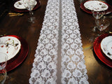 White Lace Flowers Table Runners (#1029) - Vintage Affairs - Vintage By Design LLC