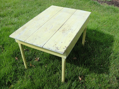 Shabby Chic Celadon Farm Table (#1166) - Vintage Affairs - Vintage By Design LLC