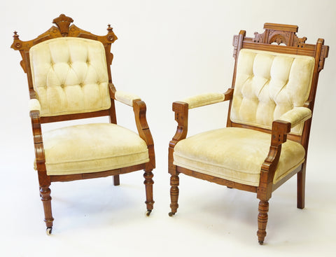 Eastlake His and Hers Chairs (#1133) - Vintage Affairs - Vintage By Design LLC