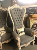 His & Her Grey Royale Chairs - Vintage Affairs - Vintage By Design LLC