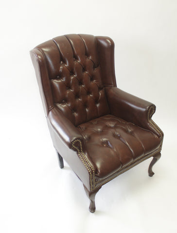 Brown Leather Wingback Chairs with Nail Head Trim - Vintage Affairs - Vintage By Design LLC