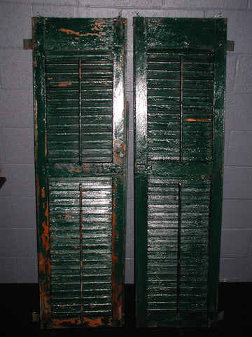 Pair of Tall Glossy Green Shutters (#1306) - Vintage Affairs - Vintage By Design LLC