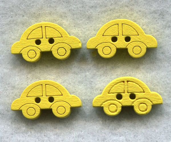 Yellow Car Buttons Decorated Vehicle Wooden Buttons 18mm (3/4 inch) Set of 8 /BT47Y