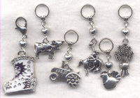 Cowboy Farmer Rancher Knitting Stitch Markers  Set of 6 /SM79