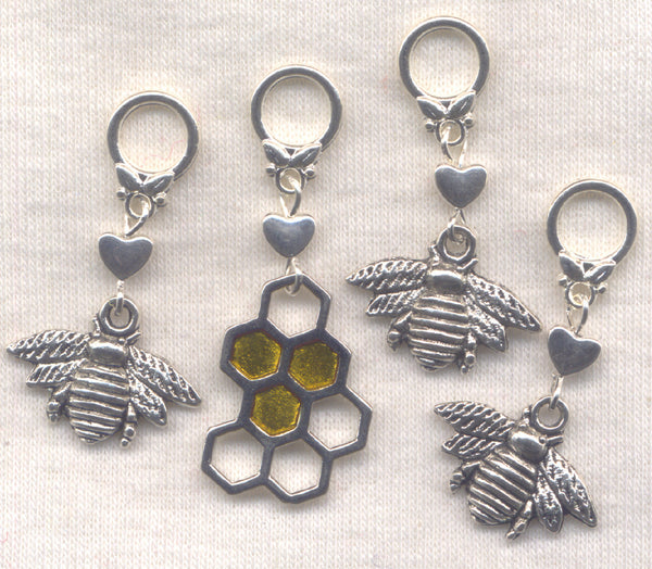 Honey Bee Knitting Stitch Markers Honey Bees Bumblebee Bumble Bees Set of 4 /SM69C