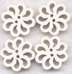 White Lace Flower Buttons Laser Cut Wooden Buttons 20mm (7/8 inch) Set of 8 /BT127W