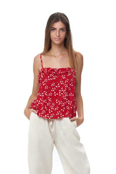Romy Camisole - Top in Gum Nut Leaves Chili