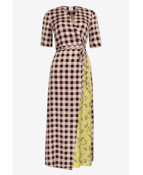 Baum und Pferdgarten - Abygail Creamy Red Gingham Check and Yellow Floral Blue Blossom Wrap Dress -Studio B Fashion