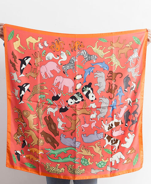 Karen Mabon - Pink Noah's Ark Animal Motif Silk Scarf - Studio B Fashion