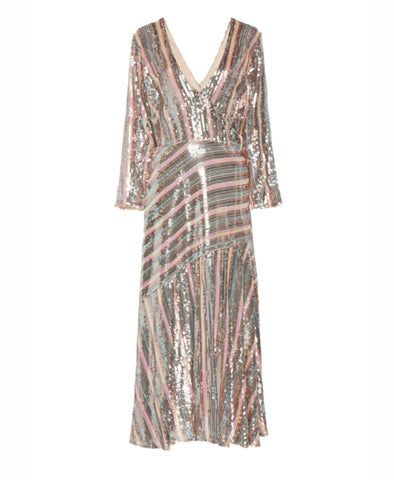 Rixo Tyra Sequin Stripe Long Sleeve Midi Dress