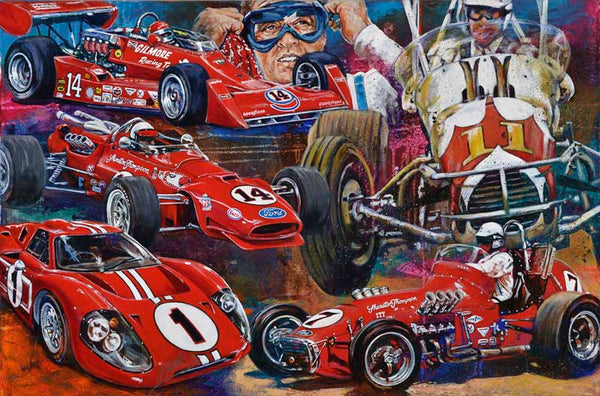 A J Foyt original painting featuring Foyt signed by Foyt by Robert Hurst