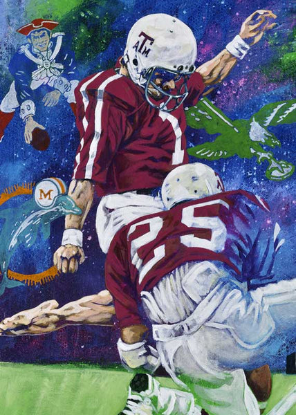 Tony Franklin - Texas A&M / Patriots autographed limited edition fine art print signed by Franklin