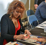 Nancy Lieberman signing official Texas Sports Hall of Fame print by Robert Hurst