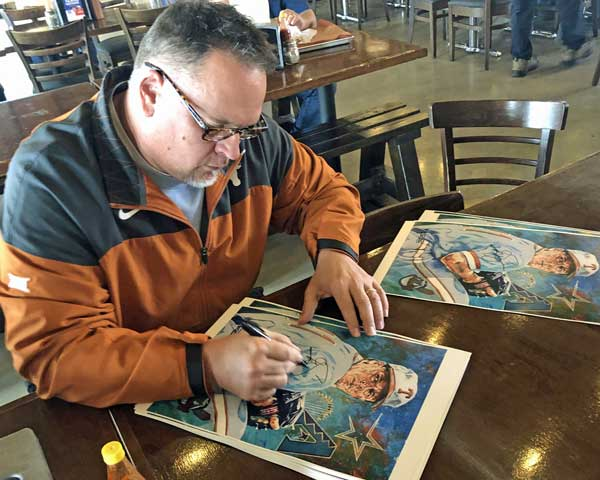 Greg Swindell signing official Texas Sports Hall of Fame print by Robert Hurst