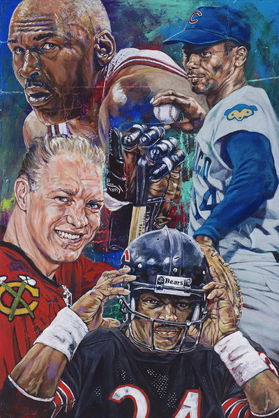 Chi-Town Champs Chicago Sports Greats limited edition canvas giclee