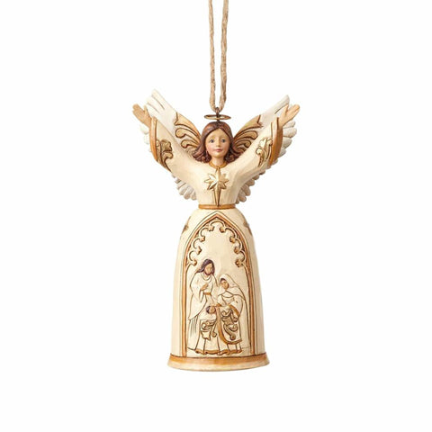 Heartwood Creek Ivory and Gold Nativity Angel Ornament by Jim Shore
