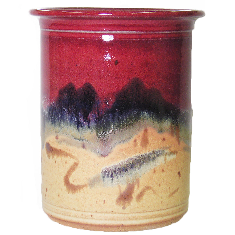 Red Skies Utensil Holder by Fire Hole Pottery