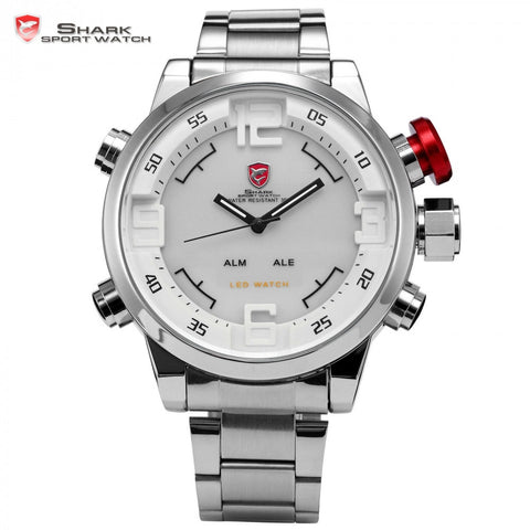 Gulper SHARK Sport Watch Stainless Full Steel Silver Movement Dual