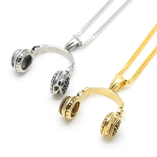 Men And Women Stainless Steel Gold Silver Retro DJ Headset Music Fans Headphone Pendant Charm Cuban Chain