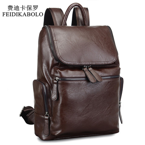 Men Leather Backpack  Black brown Travel Bag Shoulder bag