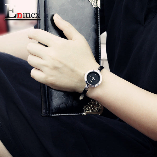 Enmex women creative slim strap wristwatch fashion quartz lady watches