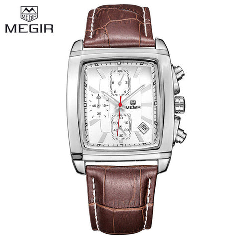 Luxury MEGIR Mens Military Sport Luminous Wristwatch Chronograph Leather Quartz