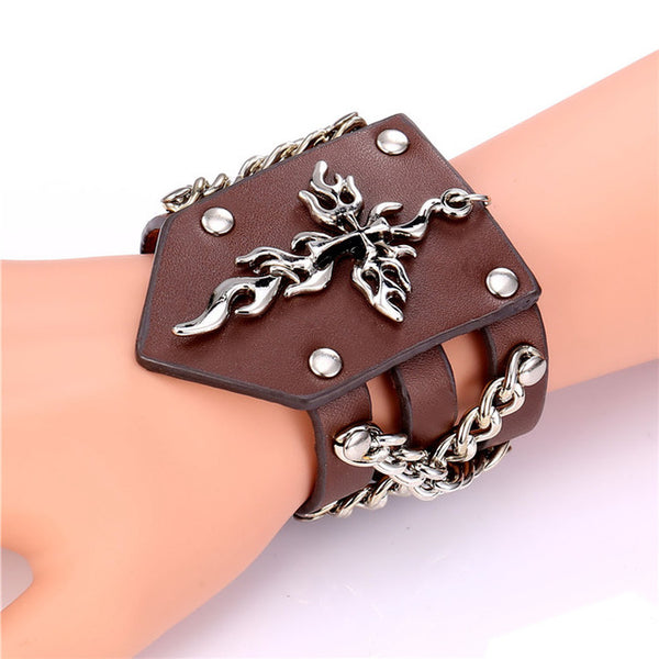 Punk Rock Jewelry  Leather Mens  Stainless steel Unique Cross Wristband Wrap Bracelet