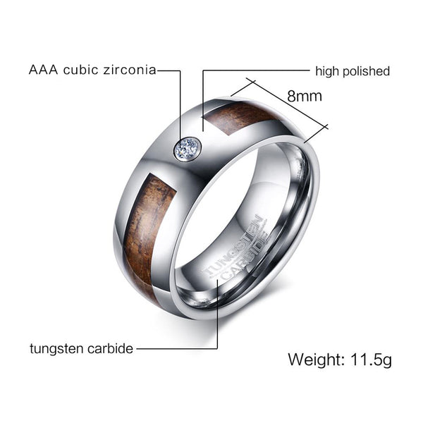 Unique  Mens Tungsten Carbide  Mahogany Wood Grain and CZ Inlay  Mens ring