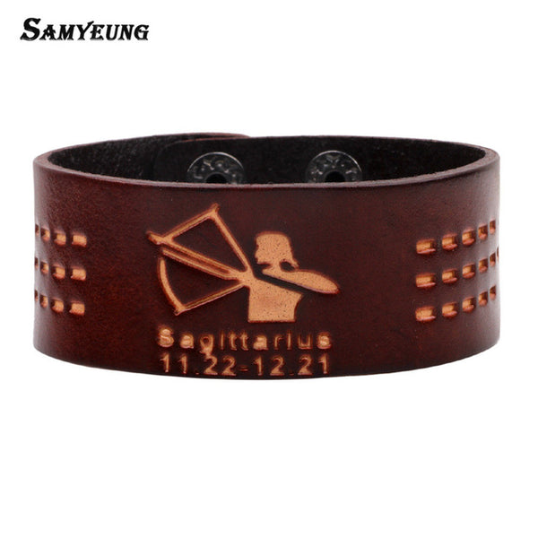 Vintage 12 zodiac Leather Bracelets for Men- Wrap Bracelet Male Handmade Jewelry
