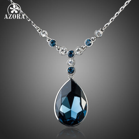 AZORA  Ink Blue Stellux Pendant /Austrian Crystal Jewelry Necklace