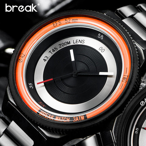 BREAK Men Women  Stainless Steel Strap Fashion Unique Creative Watches