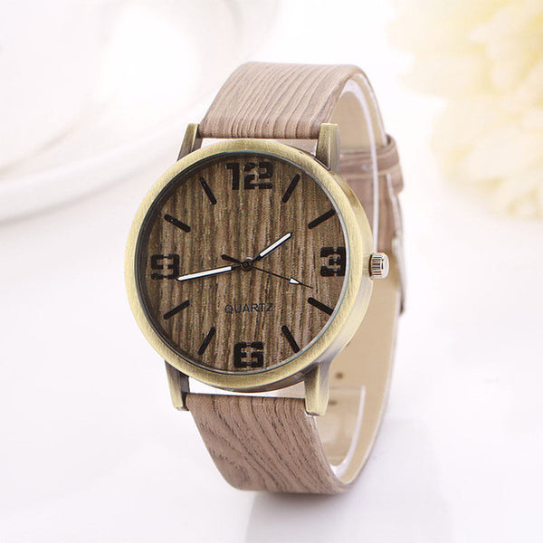 Wood Grain Womens Quartz Wristwatches