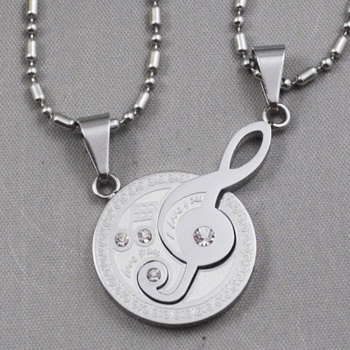 Classical Round Treble Clef Necklace with Rhinestone 3 colors Stainless Steel Fashion Music Lover Jewelry