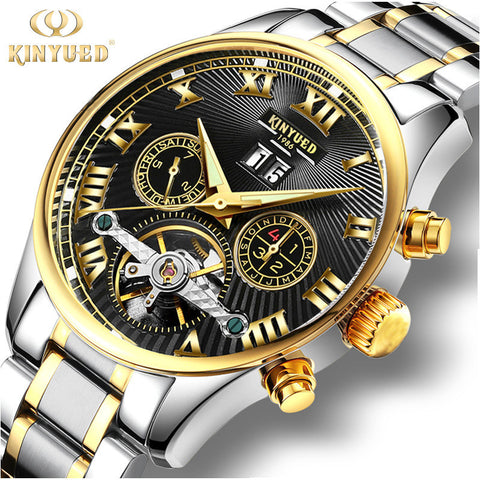 KINYUED Metal Mechanical Dress Sport  Wristwatch Men's