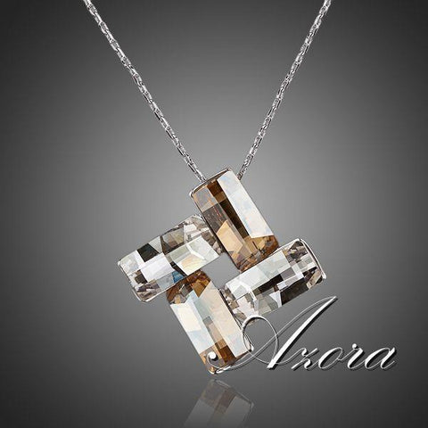 Stellux Austrian Crystal Pendant Necklace -Four Rectangles Connected End to End