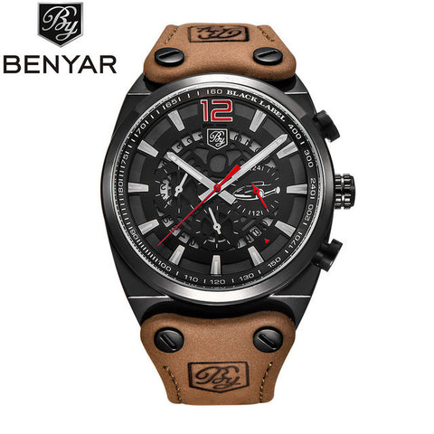 BENYAR Luxury Brand Chronograph Sport Mens Watches Fashion Military Waterproof Leather Quartz Watch