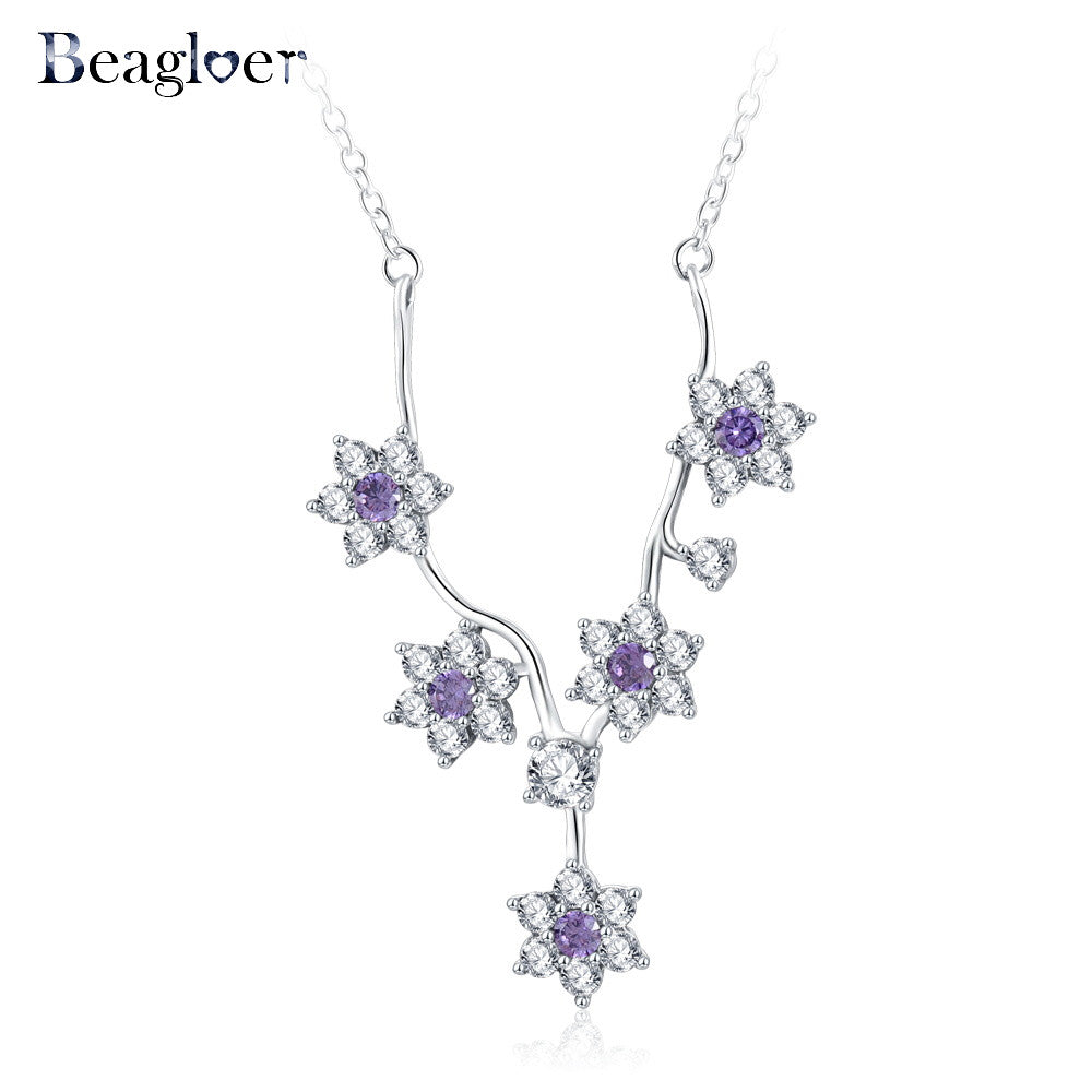100%  925 Sterling Silver Exquisite Flower Pendant Necklaces For Women