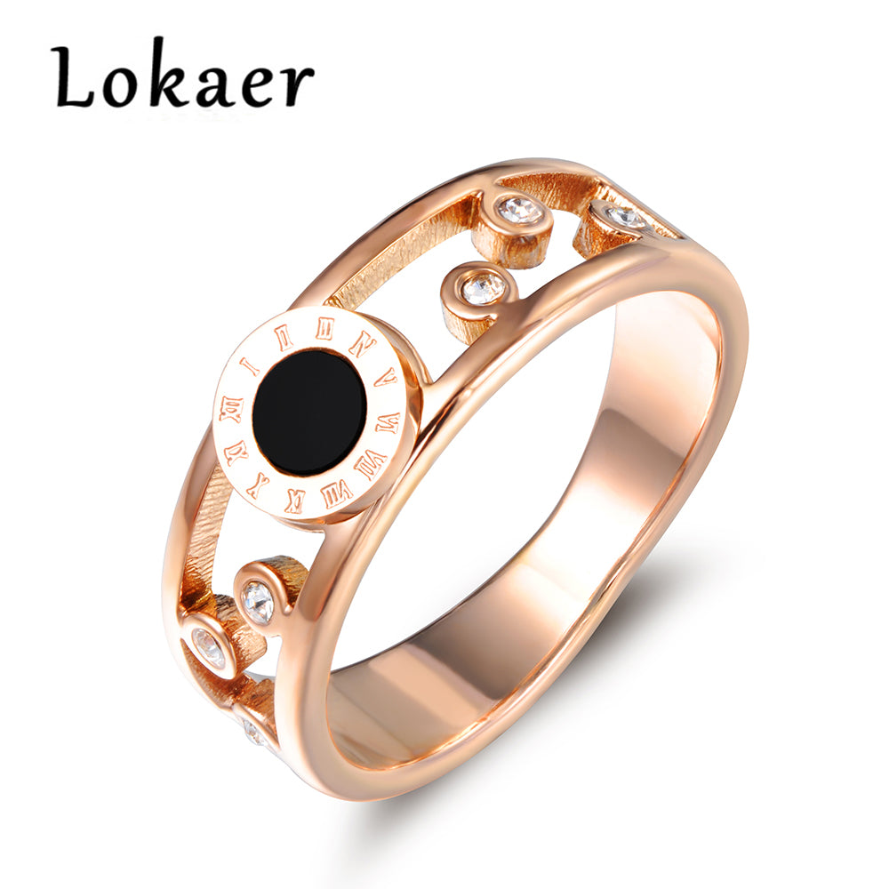 Lokaer Trendy Black Acrylic Roman Numerals Pattern Rings For Women-  Mosaic Cubic Zirconia Stainless Steel