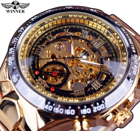 Design Bezel Golden Watch Luxury  Men Automatic Skeleton Watch