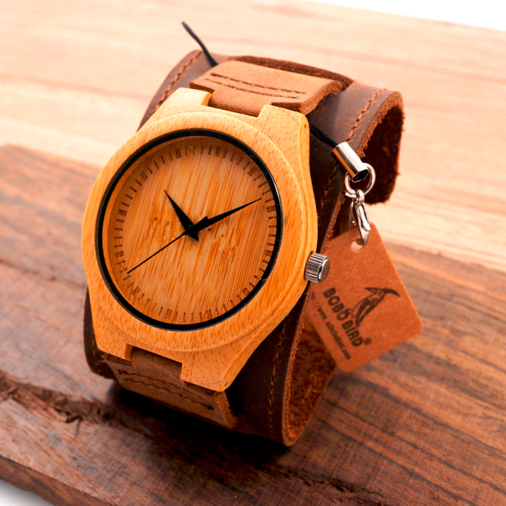 New Men Design Bamboo Wristwatches With Wider Genuine Cowhide Band Luxury Wood Wrist Watch