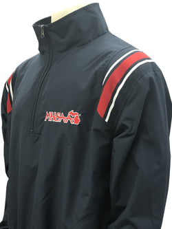 BBS320MI-Smitty Navy Long Sleeve Microfiber Shell Pullover  Jacket Half Zipper with MHSAA Embroidered Logo