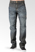 Relaxed Straight Dark Wrinkle Wash Ripped & Repaired Premium Denim Jeans