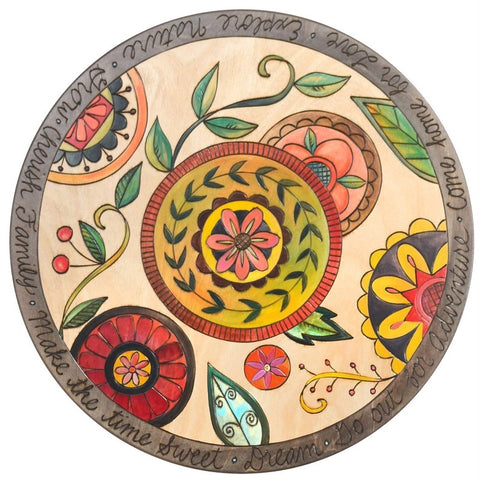 "Sticks Lazy Susan 20""-Contemporary Floral Medallion"