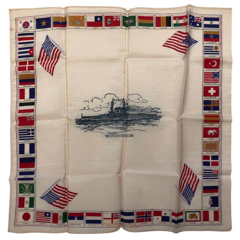 48 Star Flag Handkerchief USS Wyoming Ship WWI Era