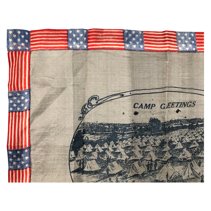 WWI Handkerchief - Camp Greeting