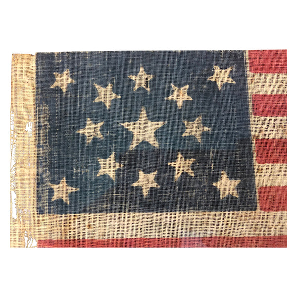 Antique Vintage 13 Star Parade Flag with Medallion Pattern - Large Example