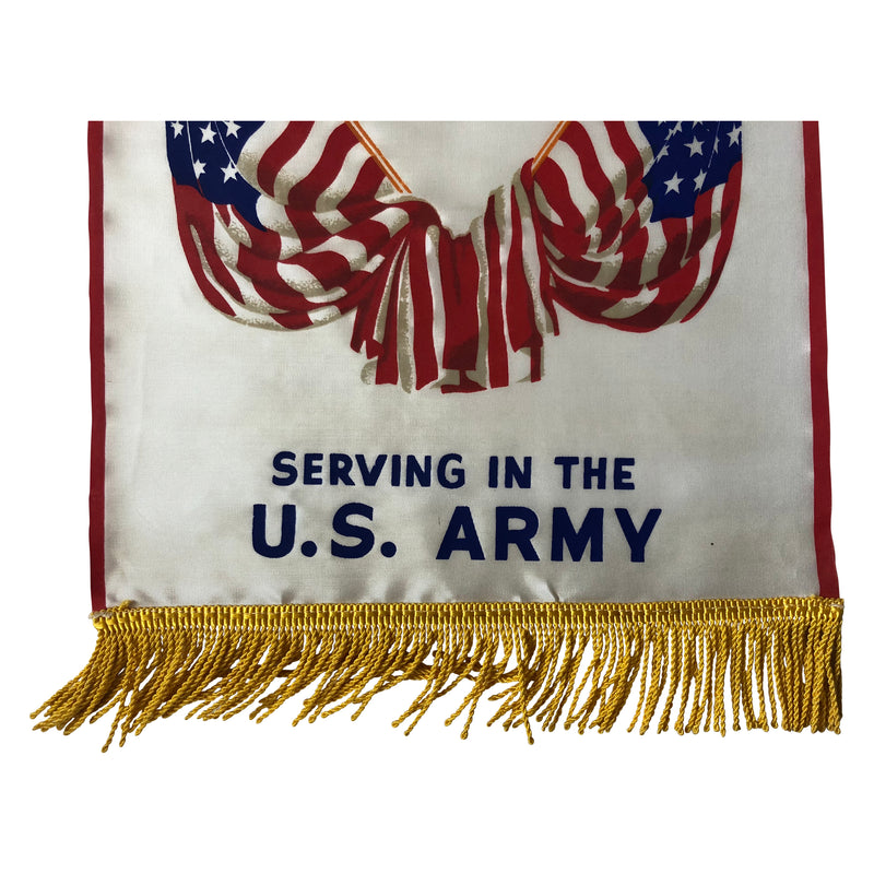 Original WWII Serving In The US Army Window Banner