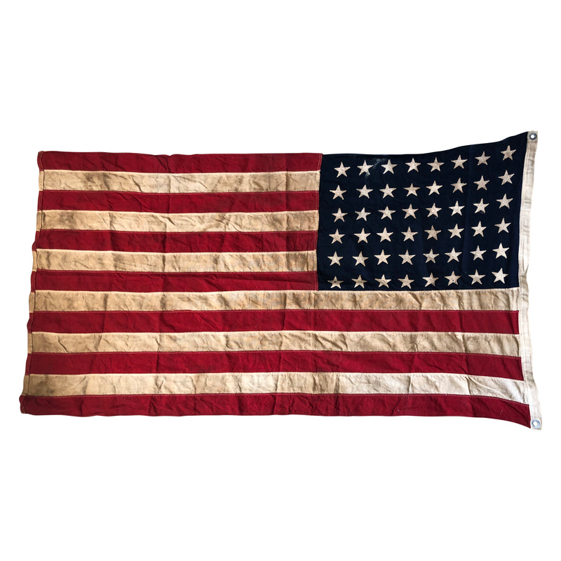 48 Star Flag - Vintage Antique American Flag - Sewn Stars and Stripes