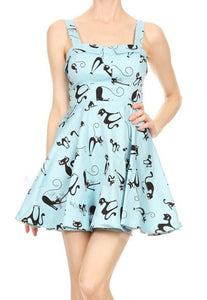 Ixia Blue With Black Cat Dress