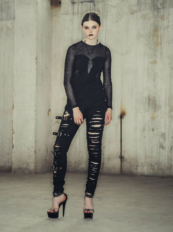 BLACK DENIM GOTHIC PUNK PANTS WITH BUCKLES